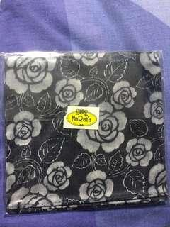 🚚 NARAYA Navy Blue Pocket Square with Light Grey Flower Print
