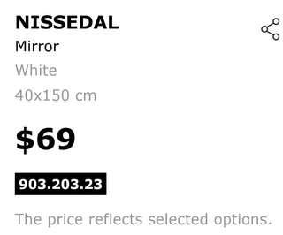 Nissedal long white mirror