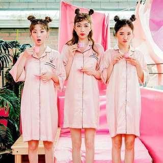 🚚 🐰兔兔緞面粉紅襯衫睡衣連身裙