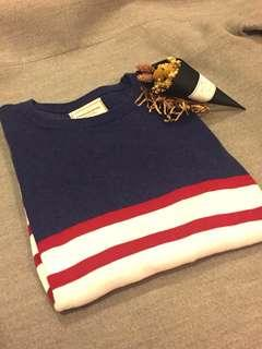 🚚 Caco 藍紅拼接條紋針織毛衣