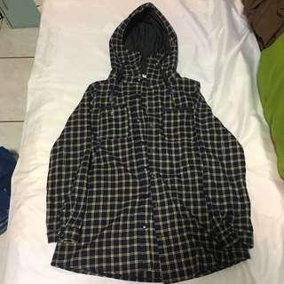 日系修身格子設計長版連帽外套上衣