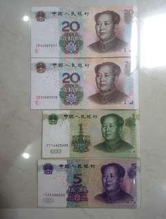 Uang Kertas 1,5 dan 20 Yuan Tahun 1999&2005
