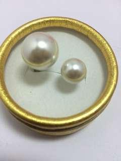 白珍珠開口戒子#贈禮盒包裝