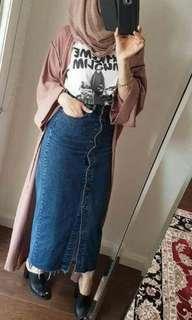 Denim Long Button Skirt
