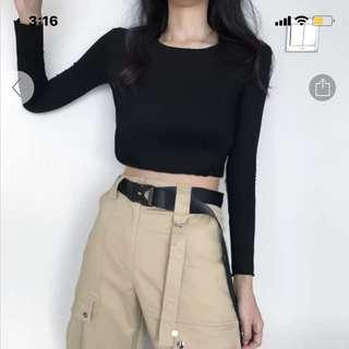 🌻 Black Long Sleeved Crop Top