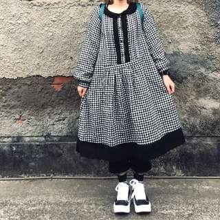 🚚 經典黑白格紋連身洋裝