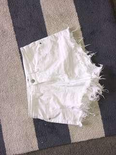 white cheeky supre shorts size 8