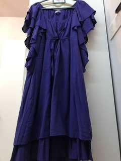 Ruffles Sleeves Blue Dress