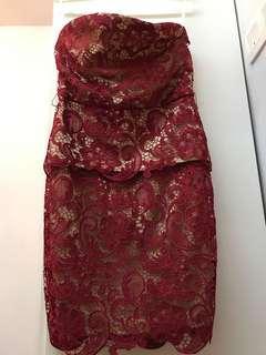 Red Lace Tube Dress   Elegant