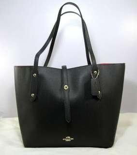 Coach Market Pebble Leather Shoulder Tote-BLACK