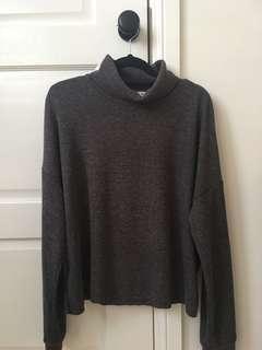 Dark Grey Turtleneck Ribbed Sweater