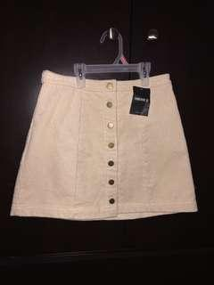 Beige corduroy button up skirt forever 21
