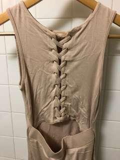 Beige Cutout Laced Dress