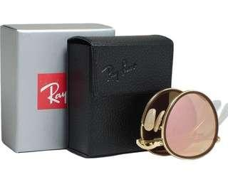 Ray Ban RB3517 Round 001/Z2 Gold Folding Pink Mirror Sunglasses 51mm