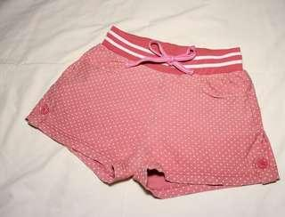 Girls' short pants (pink colour with white dots)