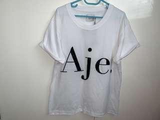 Aje brand new with tags white signature logo sequin tee size XS