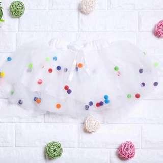 🚚 Instock - white Pom Pom skirt, baby infant toddler girl