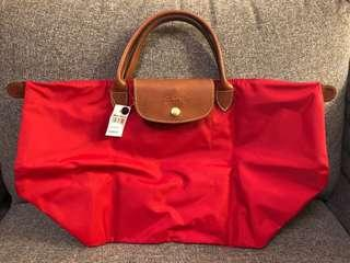 全新 Longchamp (Red, M size, Short handle)