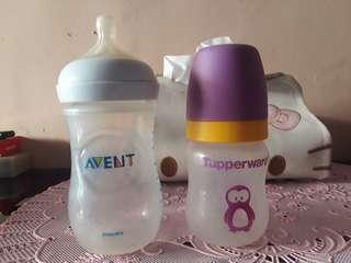 Botol susu Avent 260 ml sama tupperware 150 ml