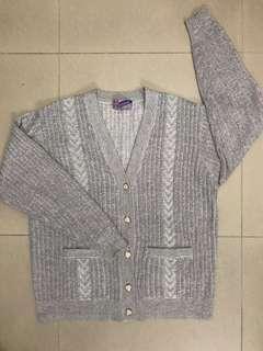 灰色彩色金絲針織外套