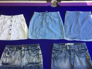 Denim skirts size 6-12 perth