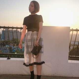 格紋裙+雪紡襯裙set