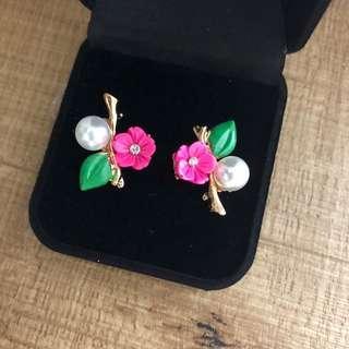 Brand new elegant cute bright pink flower with leaf stud earrings