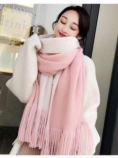 Pink White 2 sides scarf
