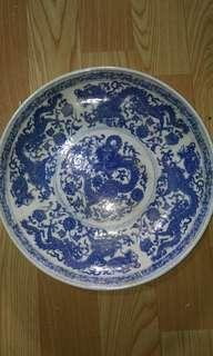 ANTIQUE, blue nd white plate,