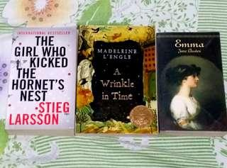 Emma by Jane Austen, A Wrinkle In Time by Madeleine L'engle The Girl Who Kicked the Hornet's Nest by Stieg Larsson Classic Book Bundle