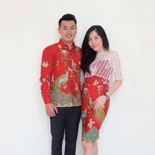 Couple Dress Set Red Batik Tradicio Sarimbit #CNY2019