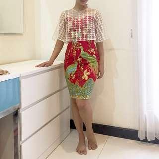 Red Batik Dress Tradicio #CNY2019 Imlek Cheongsam