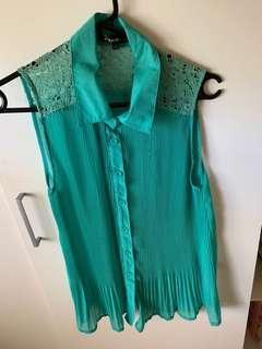 Teal aqua blue lace sheer button up shirt blouse