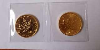 1oz Canadian fine gold maple bullion (various yr) 2pcs.