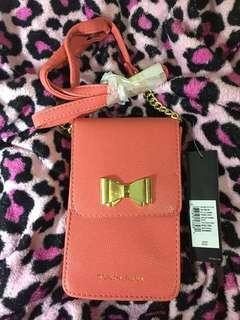 TAHARI GIGI SPICED CORAL PHONE PURSE MINI CROSSBODY
