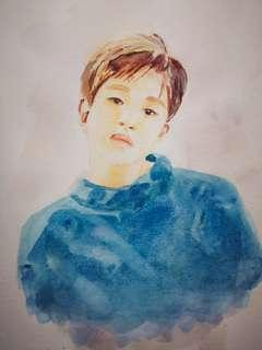 Kpop watercolour painting