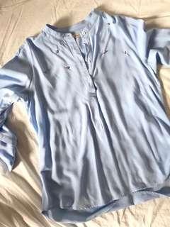 🚚 Pastel blue babydoll blouse
