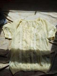 yellow vintage sheer blouse