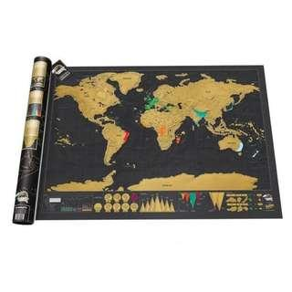 Scratch map In stock Deluxe world scratchmap black and gold scratch map offer A1 size