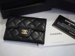 全新 正品  Chanel Card Holder  卡片套 細銀包 黑色 羊皮 金扣