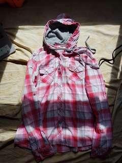 pink plaid hoodie shirt