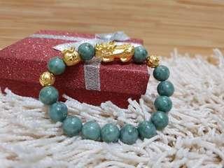 Pi yao & jade lucky charm bracelet