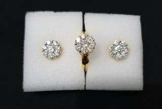 14K Diamond Sets Earrings and Ring