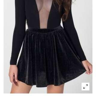 American apparel black velvet skirt
