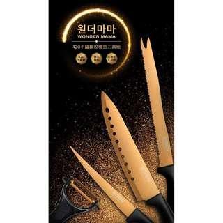 售全新韓國WONDER MAMA 420不鏽鋼玫瑰金刀具組 (主廚刀+麵包刀+萬用刀+刨刀)