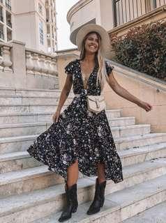 KIVARI - Willow Floral Tie Up Maxi Dress
