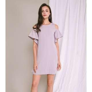 🚚 WILD PEONIES AIMEE COLD SHOULDER DRESS (LILAC, L)