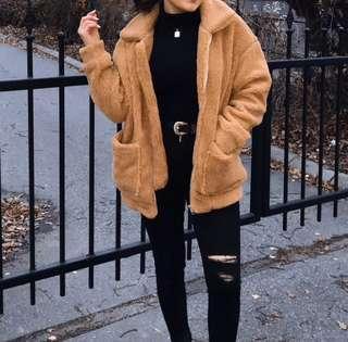Brown Oversized Teddy Bear Jacket