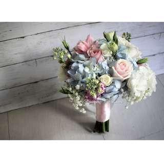 Rustic Fresh Light Blue, Light Pink & White bouquet (Wedding / ROM/ Bridesmaid / Proposal/ Anniversary/Birthday)