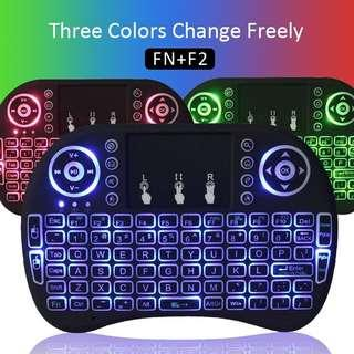 3 Colors Backlight Mini wireless keyboard 2.4G Air Mouse Rechargeable Li-battery